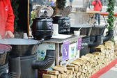 Hungarian foods at a christmas fair stand on the Vorosmarty square — Stock Photo