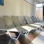 Row of empty lounge in Heviz spa resort in Hungary — Stock Photo