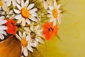 Daisy and poppy flowers oil painting detail closeup — Stockfoto