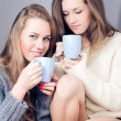Two happy girlfriends drinking tea together — Stock Photo #40365309