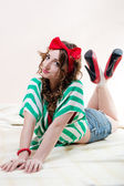 Funny pinup woman posing nicely — Stockfoto