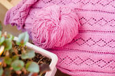 Detail of woven handicraft knit sweater — Stock Photo