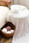 Detail tkané řemesel pletený svetr — Stock fotografie