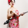 Beautiful funny housewifely woman attractive pin-up girl playing vacuum cleaner as guitar on white portrait — Stock Photo