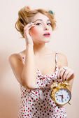 Woman with alarm-clock — Stock Photo