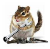 Craftsman chipmunk with wrench — Stock Photo