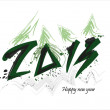 New year 2013 card with christmas tree — Stock Vector