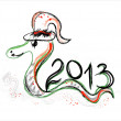 Stock Vector: New year 2013 card with snake