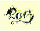New year 2013 card with snake — Stock Vector