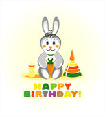 Happy birthday card with rabbit. vector illustration — Stock Vector