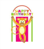 Happy birthday card with monkey. vector illustration — Stock Vector