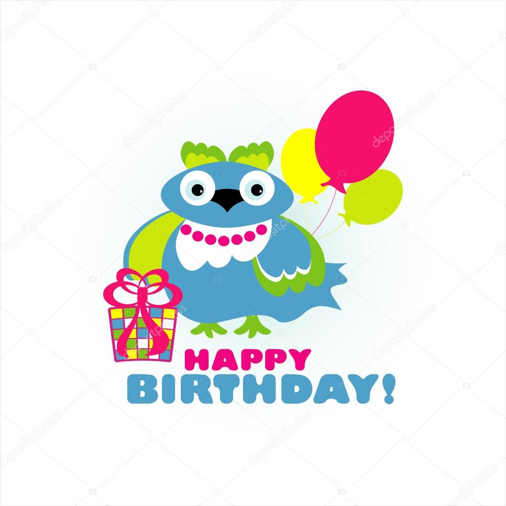Happy birthday card with fun bird. vector illustration  — Stock Vector #19069581