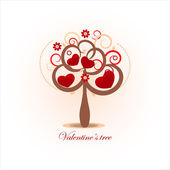 Valentines day card with tree — Stock Vector