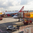 Aircraft at the finger in the modern Terminal 2  in Hamburg, Ge - Stock fotografie