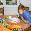 Boy blowing out his birthday candles at the cake - Stock Photo