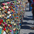 Lockers at the  Hohenzollern bridge symbolize love for ever - Stock Photo