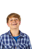 Happy smart boy is laughing — Stock Photo