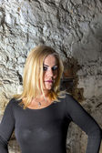 Portrait of attractive sexy woman in the cellar — Stock Photo
