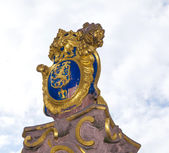 The golden emblem of Hesse in germany, the lion — Zdjęcie stockowe