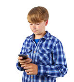 Cute handsome young boy speaking a mobile phone — Foto de Stock