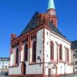 Famous Nikolai Church in Frankfurt at central roemer place — Stock Photo #13594488