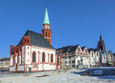 Famous Nikolai Church in Frankfurt at the central roemer place — Stock Photo