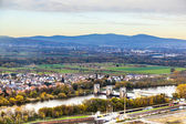 Aerial of the river main with the mountains of the taununs at t — Stock Photo