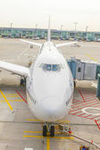 Lufthansa 747 airplane parked on Frankfurt Airport airport while — Stock Photo