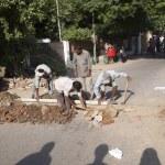 ������, ������: Worker repair the drain system
