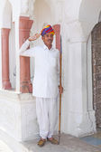 Indian welcome from an doorman dressed in typical indian clothe — Stock Photo