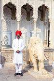 Indian welcome from guard in typical indian dress — Stock Photo