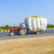 Straw transport with tractor on country road — Stock Photo #14593791