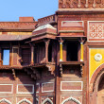 Jahangiri mahal em forte vermelho de agra — Fotografia Stock  #15152569
