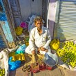 Typical vegetable street market in Delhi - Stock Photo