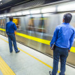 Passengers alighting metro train — Stock Photo #15702445