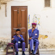 Security check personal have a rest at the palace of Udaipur — Stock Photo #15860499