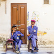 Security check personal have a rest at the palace of Udaipur — Stock Photo