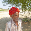 A Rajasthani tribal man wearing traditional colorful turban — Stock Photo