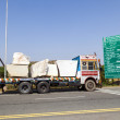 Lorry transports huge marble stones — Stockfoto
