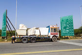 Lorry transports huge marble stones — Stock Photo