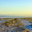 Interstate 10 direction Blythe in sunset - ストック写真