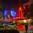 Enjoy nightlife at the colorful ocean drive by night — Stock Photo