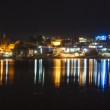 Reflection of the ghats in Pushkar in the lake by night — Stock Photo #17037527