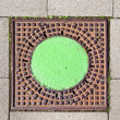 A manhole cover in the street to enter the canalisation - Foto Stock