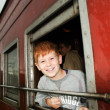 Boy in the train — Stock Photo