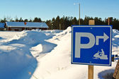 Sign snow scooter parking in finnland — Stock Photo