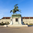 Horse and rider statue of archduke Karl in vienna — Stock Photo