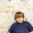 Stock Photo: Boy in cellar with spotlight