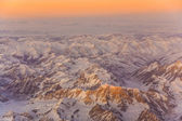 Beautiful view from the aircraft to the mountains in Tashkent, c — Stock Photo