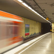 Metro station with train in Motion — Stock Photo #18305377